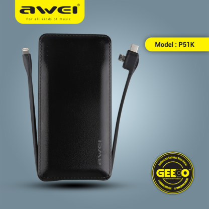 Awei P51K 10000mAh 3 in 1 Cable Built-in Power Bank png