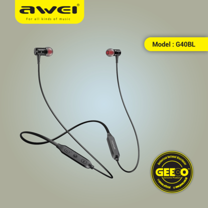 Awei G40BL Wireless Waterproof Sport Neckband Bluetooth Earphone