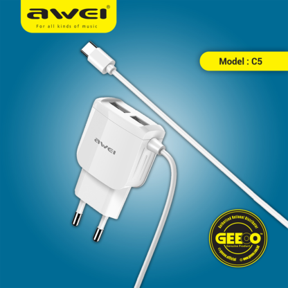 Awei C5 With Type-C Cable Line With Dual USB Charging Port Power Adapter Charging Plug 5V 2.4A Fast Charger