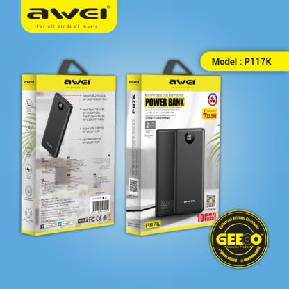 Awei P117K PD 22.5W 10000mAh Power Bank Phone Fast Charge Dual USB Port Type-C USB Charging Slim Led Digital Display Power bank