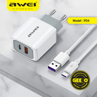 Awei PD4 PD 20W Plus Qualcomm Super Fast Charger Combo With A Type-C PD Cable Suit For All Type-C Device