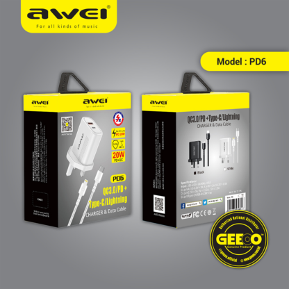 Awei PD6 PD 20W Plus QC3.0 Super Fast Charging Charger Combo With A Lightning PD Cable Suit For iPhone Latest Modes